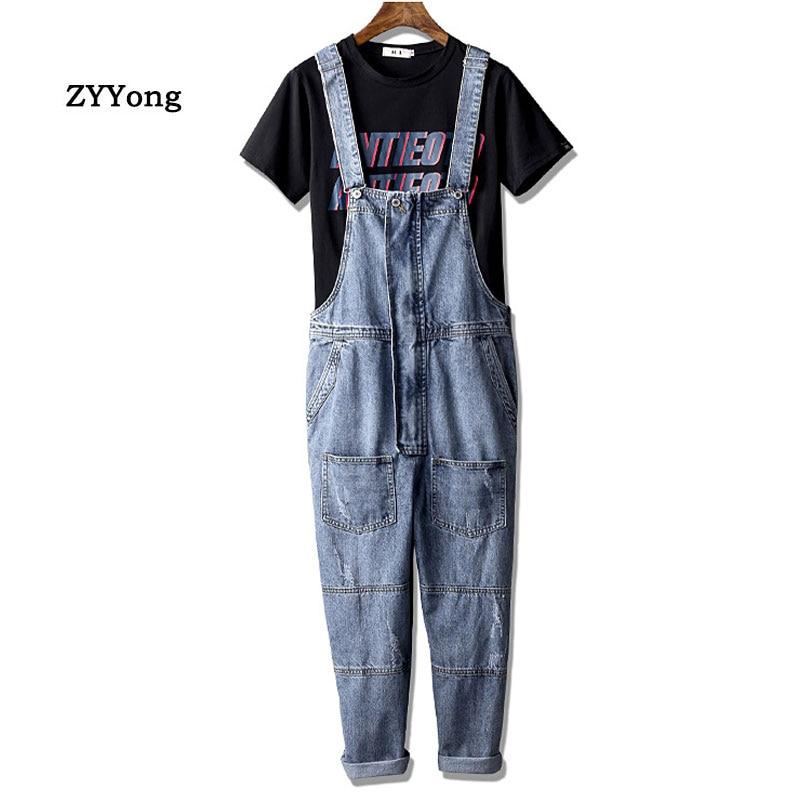 Europe And America Men Denim Bib Overalls High Waist Loose Retro Fashion Hip Hop Jumpsuit Blue Jeans Pants Freight Trousers