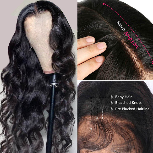 YYong-Peluca de cabello humano brasileño transparente, malla con división, parte media profunda, 1x4, Parte I y 13x1, Remy, 180% 4