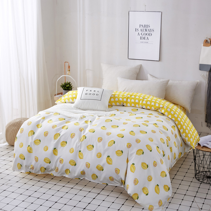 Yellow Lemon Fruit Duvet Cover Plaid Striped Quilt Cover Polyester Cotton Bedclothes 150*200cm/180*220cm/200*230cm/220*240cm