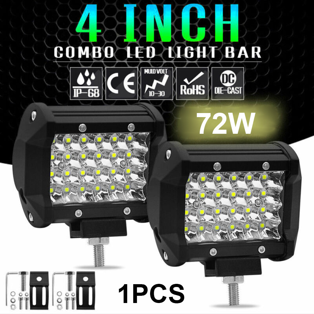 2pcs Car Truck White LED Work Light 12V 24V 4Inch 72W LED Spot Work Light Spotlight Off-Road Driving Fog Lamp Boat Marine 6000K