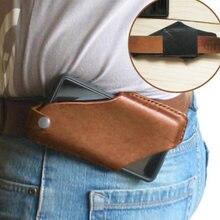 Новая мужская кожаная винтажная поясная сумка с зажимом для