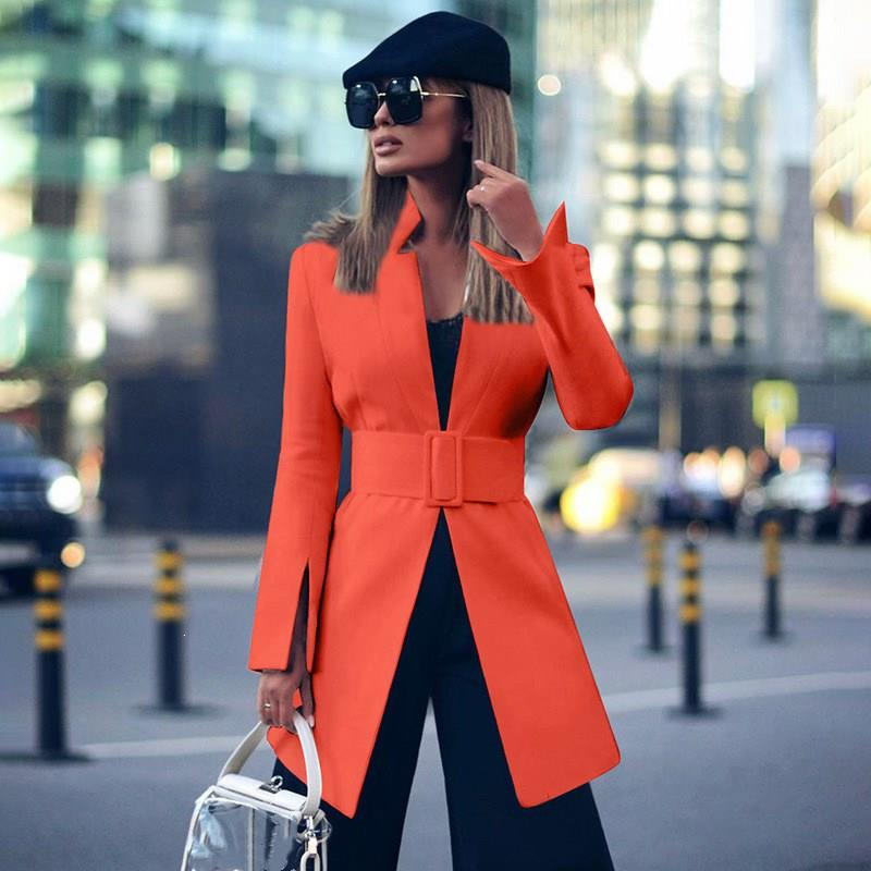 New Autumn Winter Women's Blazers Sashes Jackets Notched Outerwear Long Streetwear Solid Cardigan Tops