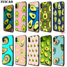 IYICAO Avocado Lovers Soft Black Silicone Case for iPhone 11 Pro Xr Xs Max X or 10 8 7 6 6S Plus 5 5S SE