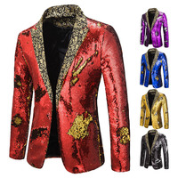 SFIT Mens Sequin Blazer Jacket Party Rock And Roll Costumes Suit Jackets Men Slim Fit Blazers Male Stage Clothes For Singers