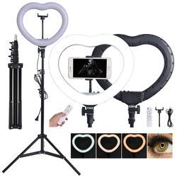 fosoto FT-X258 Bi-color Lamp Heart Shaped Photography Light 3200K-5600K LED Lamp & Remote Tripod For Phone Camera Makeup Studio