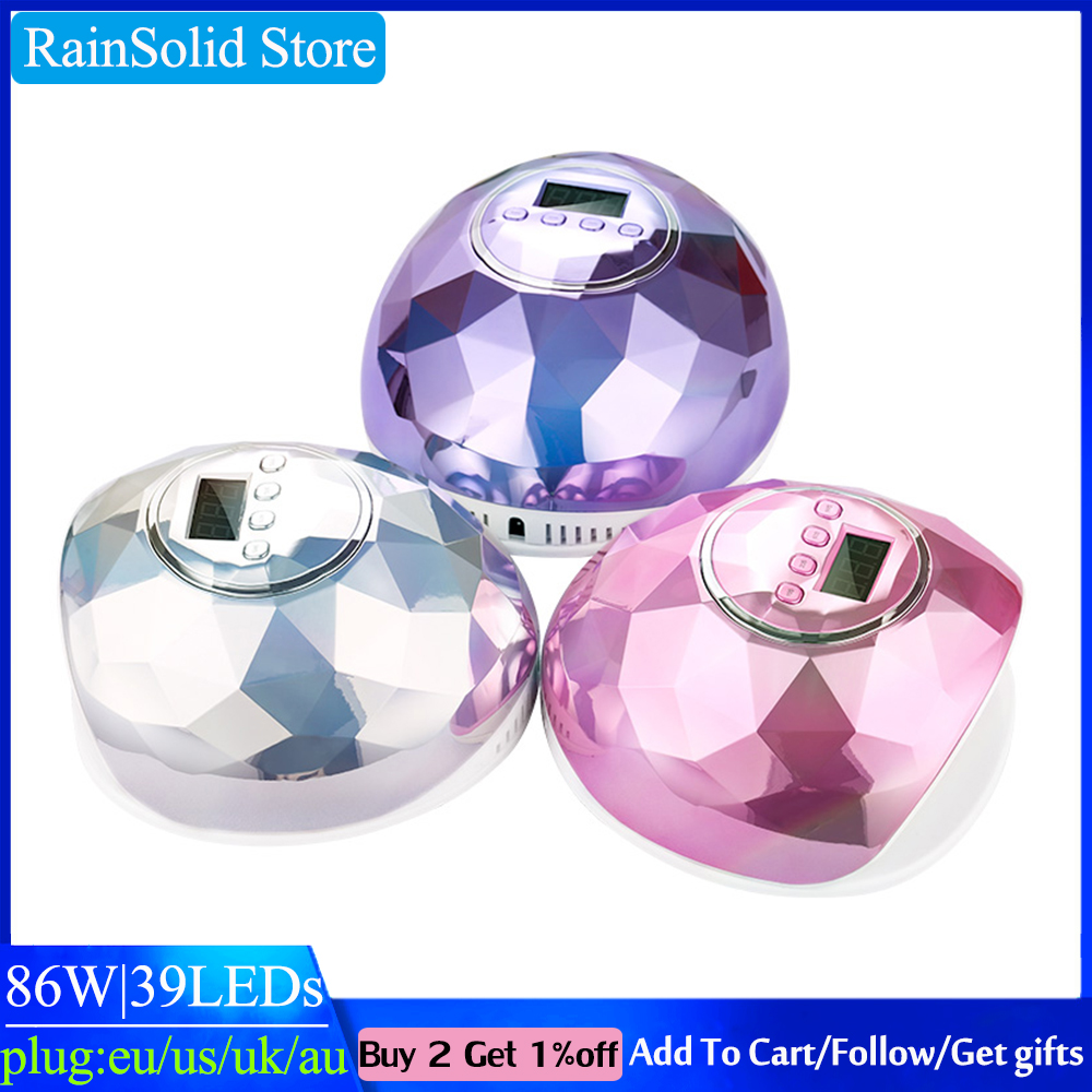 RainSolid 86W UV LED Nail Lamp For Manicure Gel Nail Dryer Drying Nail Polish Ice Lamp 30s/60s/90s Auto Sensor Manicure Tools image