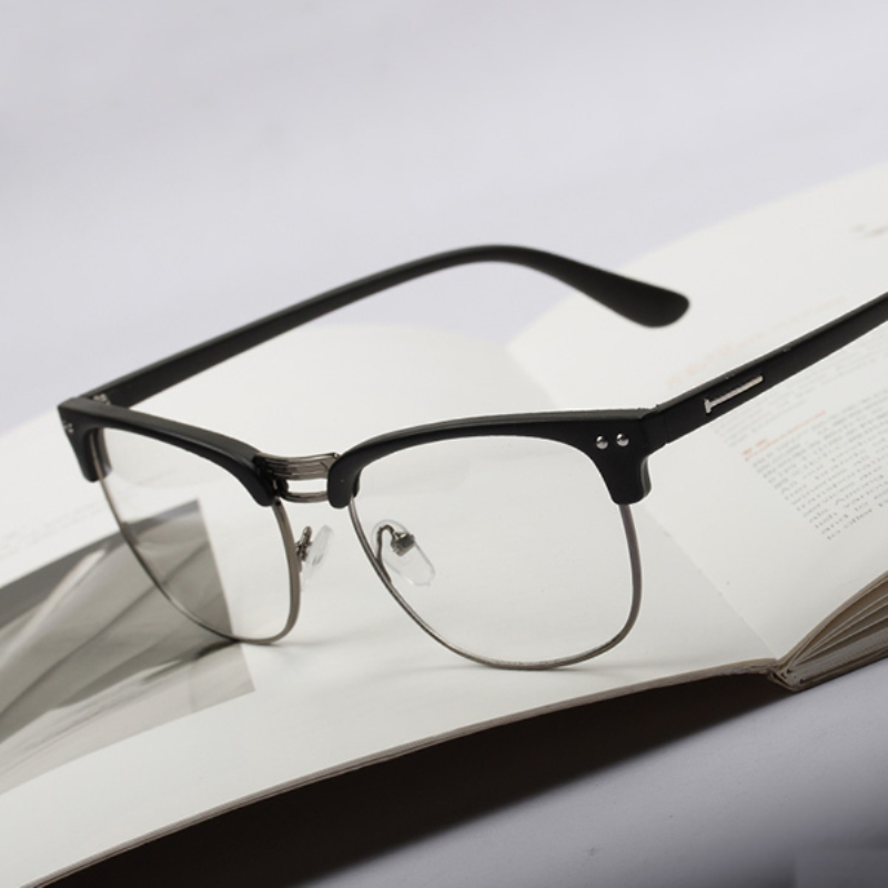 Unisex Men Women Fashion Hipster Vintage Retro Classic Half Frame Glasses Clear Lens Nerd Eyewear