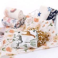 Bamboo Cottom Muslin Swaddles Soft Cute Printed Infant Blanket Baby Bath Towel Newborn Sleepbag Kids Stroller Cover