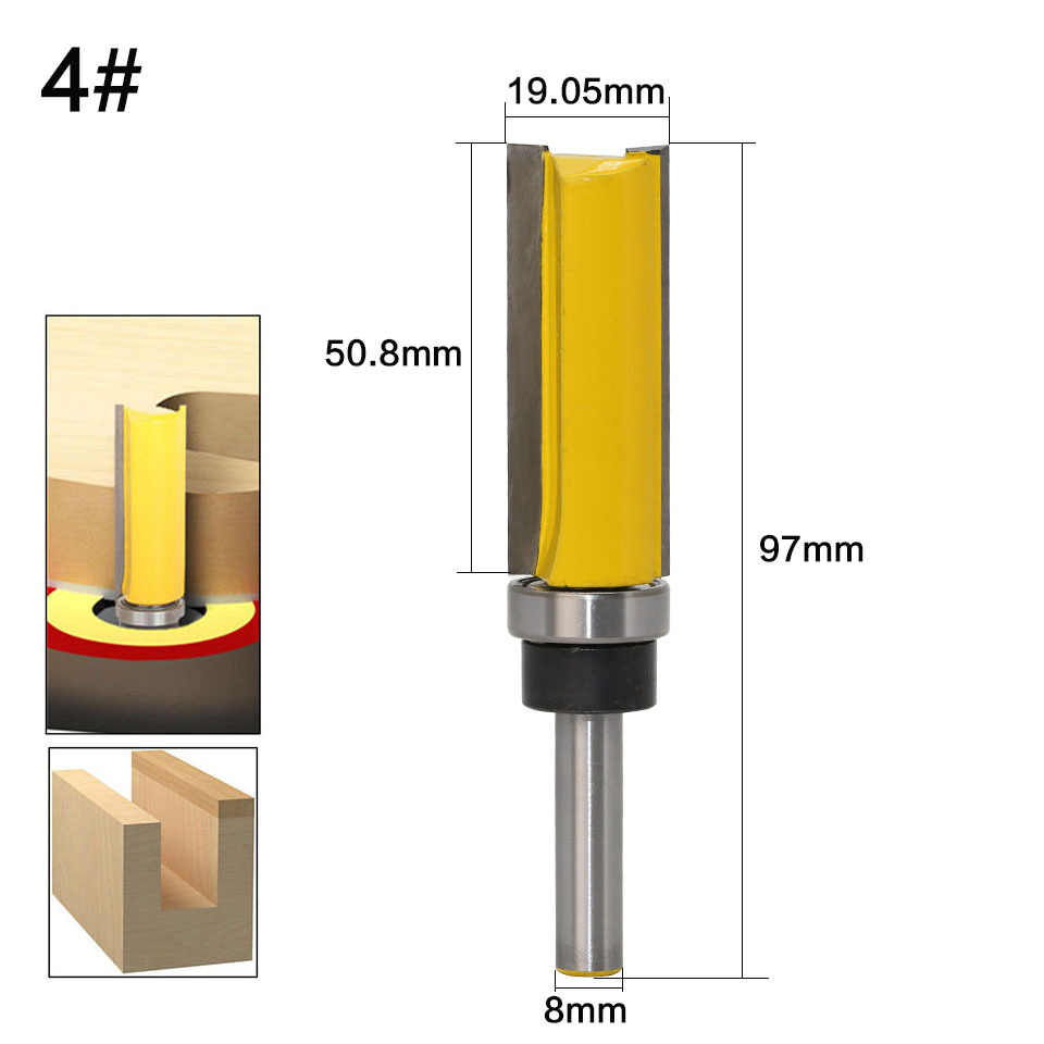 """Image 4 - 8mm 1/4"""" Shank Woodworking Router Bit For Wood Tungsten Carbide CNC Tool Straight Trimming Milling Cutter With Bearing-in Milling Cutter from Tools"""