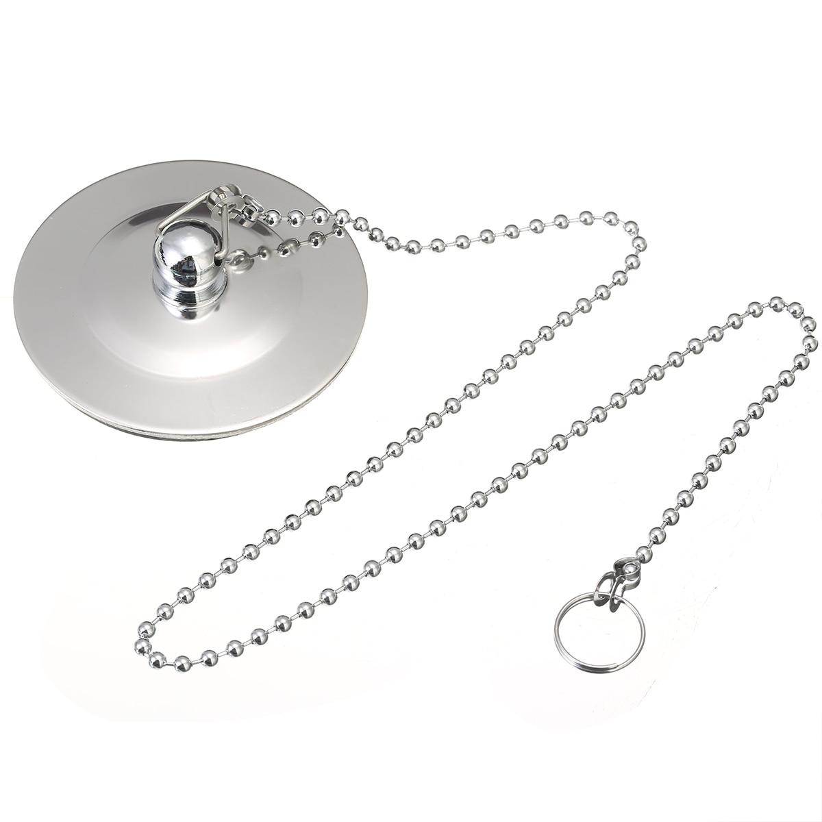 1pcs Chrome Plated Bath Tub Drainer Silver Bathtub Stopper Metal Waste Plug With Chain Bathtub Accessories Mayitr