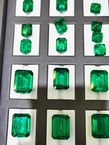 Necklace Ring-Earrings Emerald Loose Gemstone Lab Grown Colombia GZXSJG for Cutting Customized