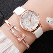 цена на Women Fashion Elegant Dress Watches Ladies Bracelet Casual Gradient Watch Leather Quartz Wristwatches Clock Relogio Feminino
