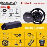 Bafang-Motor central BBS01B BBS01 de 36V y 250W, Kit de conversión de bicicleta eléctrica 8fun, batería de litio Samsung de 36V17AH 36V21AH