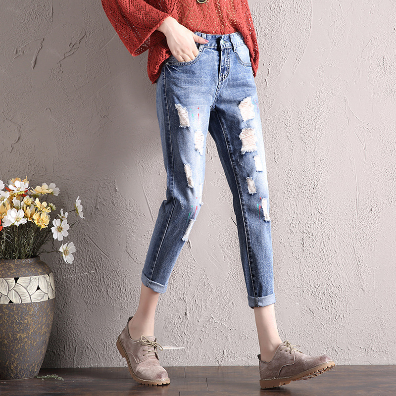 Spring And Summer New Style Loose-Fit Slimming Trend With Holes Paint WOMEN'S Jeans Received Skinny Crimping Medium Waist Capri
