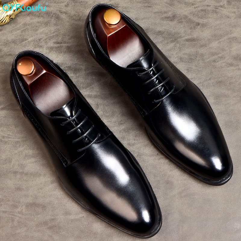 Formal de Couro Genuíno para Homens Elegante com Cadarço «sapato Sapato Ponta Fina Calçado Oxford Confortável Eua 11.5