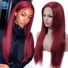 Ombre Human Hair Wig Burgundy Lace Front Wig Human Hair Wigs 13x4 Honey Blonde Wig 4x4 Closure Wig Straight Brazilian Remy 150%