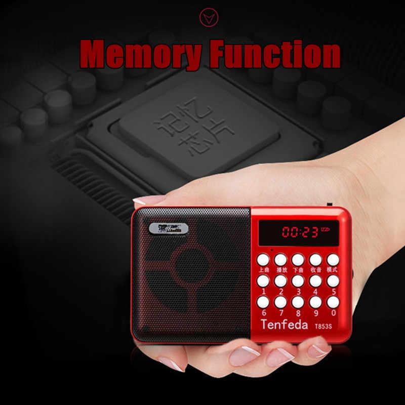 ミニポータブルラジオハンドヘルドデジタル FM USB TF MP3 プレーヤースピーカー充電式パワーオフメモリ機能 Led ディスプレイ赤