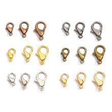 10pcs Alloy Lobster Clasp Hooks End Connectors For Bracelet Necklace Chain DIY Jewelry Findings 10/12/14/16/18/21mm