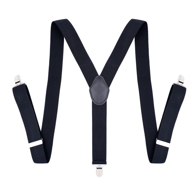 Adult Men's Three Clip Strap Black Lengthen Elastic Suit Pants Suspenders Models In Europe And America