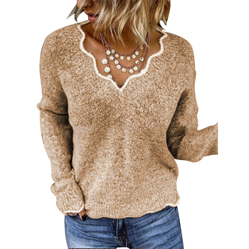 CINESSD V Neck Casual Cute Pullover Sweaters Women Khaki Long Sleeves 2020 Autumn Winter Solid Knitted Sweater Bottoming Shirts black v neck long sleeves loose plunge knitted sweaters