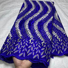 5Yards Latest African Swiss Voile Lace Nigerian Material Lace Tulle Fabric With Stones Embroidery France 100%Cotton Lace Fabric