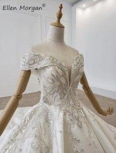 Image 5 - Luxe Kristallen Lace Baljurken Trouwjurken Voor Vrouwen Saudi Arabian Elegante Prinses Lange Mouwen Kralen Bruidsjurken 2020
