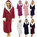 Горячая Распродажа, новый осенне-зимний женский однотонный модный мужской халат с длинным рукавом, ночная рубашка с поясом и капюшоном