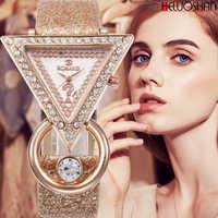 2020 Women Watches Creative Luxury Triangle Rhinestone Dial Frosted Strap Ladies WristWatch Fashion Quartz Watch Relojes Mujer