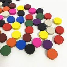 50 peças de madeira do jogo do peão do diâmetro 15*5mm dos pces xadrez colorido para o jogo de tabuleiro dos tokens/jogos educacionais acessórios 10 cores