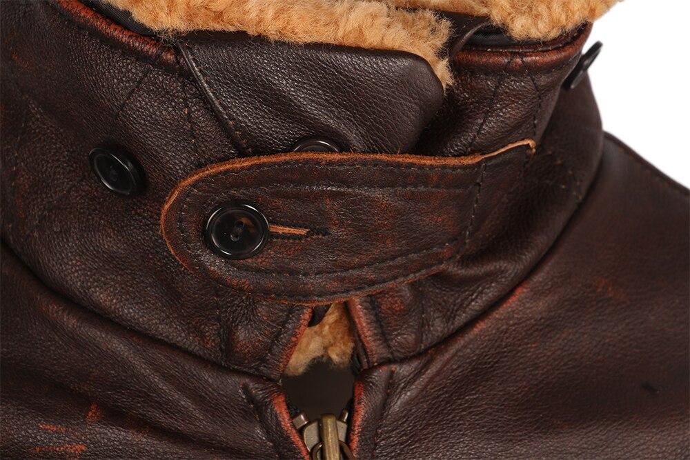 H1cd8ab19e6ba4475af3884512e74f09bH Vintage Distressed Men Leather Jacket Quilted Fur Collar 100% Calfskin Flight Jacket Men's Leather Jacket Man Winter Coat M253