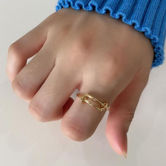 LouLeur Genuine 925 Sterling Silver Push-pull Ring Minimalist Korean Design Adjustable Gold Rings for Women Fashion Fine Jewelry