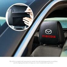 Car Headrest Cover Car Logo Pillow Protector Case For Mazda 3 Mazda 6 Atenza Axela Demio CX3 CX5 MP MS Car Decoration Styling