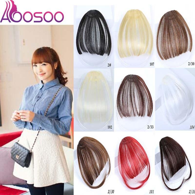AOOSOO  Clip In Bangs Front Neat Bangs Fringe Hair Women Clip In Hair Extensions