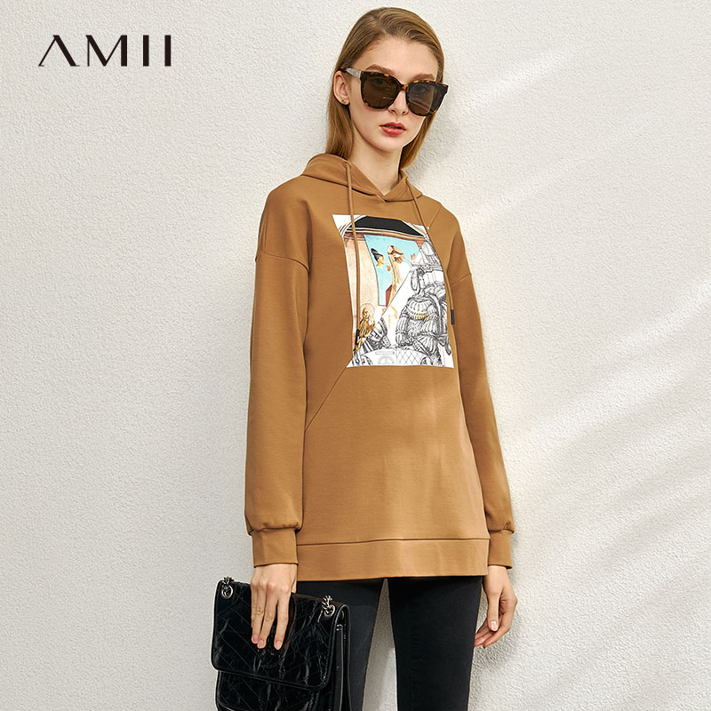 Amii Minimalist Spring Print Sweatshirt Women Casual Hooded Round Neck Loose Female Pullover Hoodies 12080015