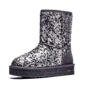 Image 5 - Botas de algodón de felpa de cuero genuino para mujer, botas cálidas de nieve de piel de vaca con lentejuelas, zapatos cálidos de cuero para invierno, 35 40, novedad de 2020