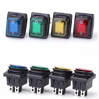 on off 16A/250V Heavy Duty 4 pin DPST IP67 Sealed Waterproof T85 Auto Boat Marine Toggle Rocker Switch with LED 12V 220V 30x22 1 39m x 1 85m size black car auto heavy duty use waterproof marine boat decorate vinyl fabric upholstery mildew resistant