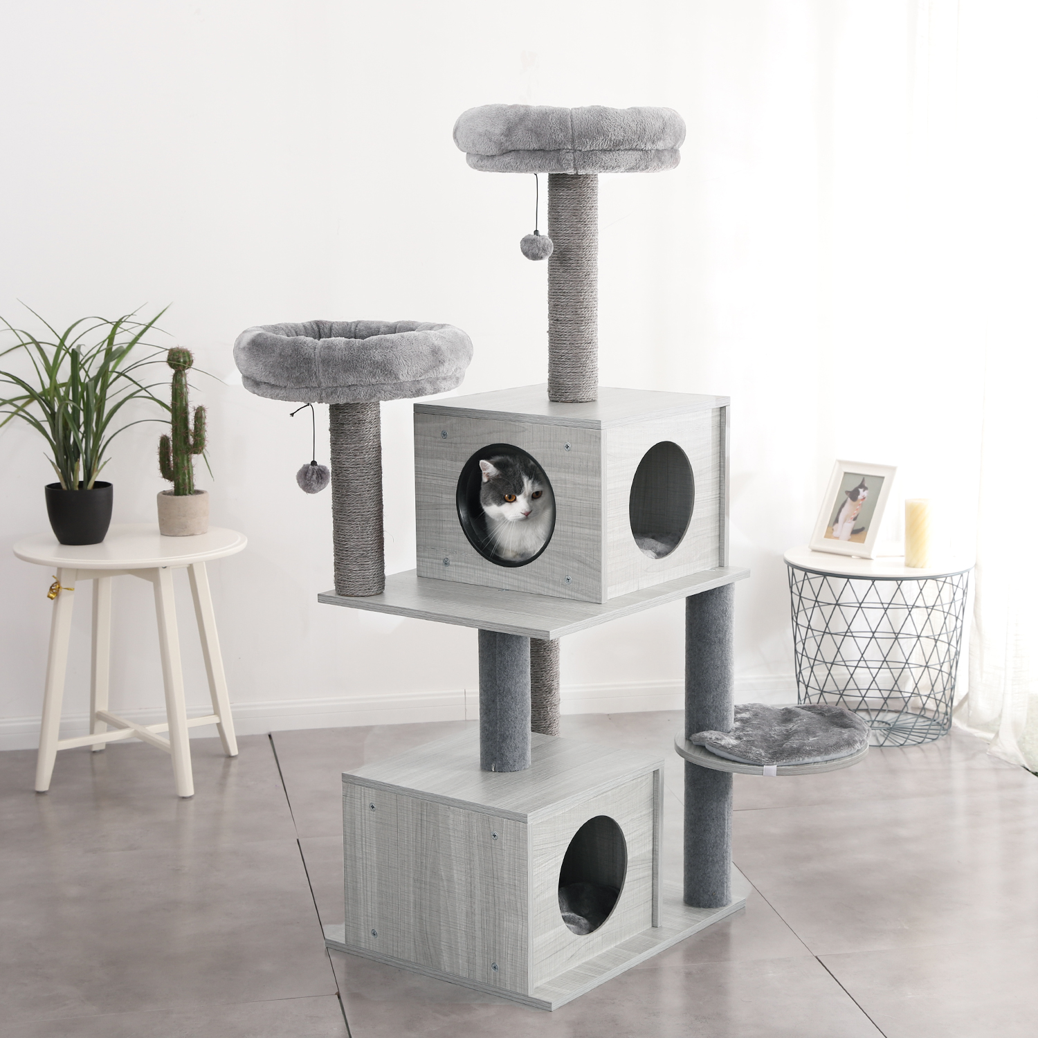 K-star Domestic <font><b>Pet</b></font> <font><b>Cat</b></font> <font><b>Tree</b></font> <font><b>Tower</b></font> Condo House Scratcher Post Toy For <font><b>Cat</b></font> Kitten <font><b>Cat</b></font> Jumping Toy With Ladder Playing <font><b>Tree</b></font> image