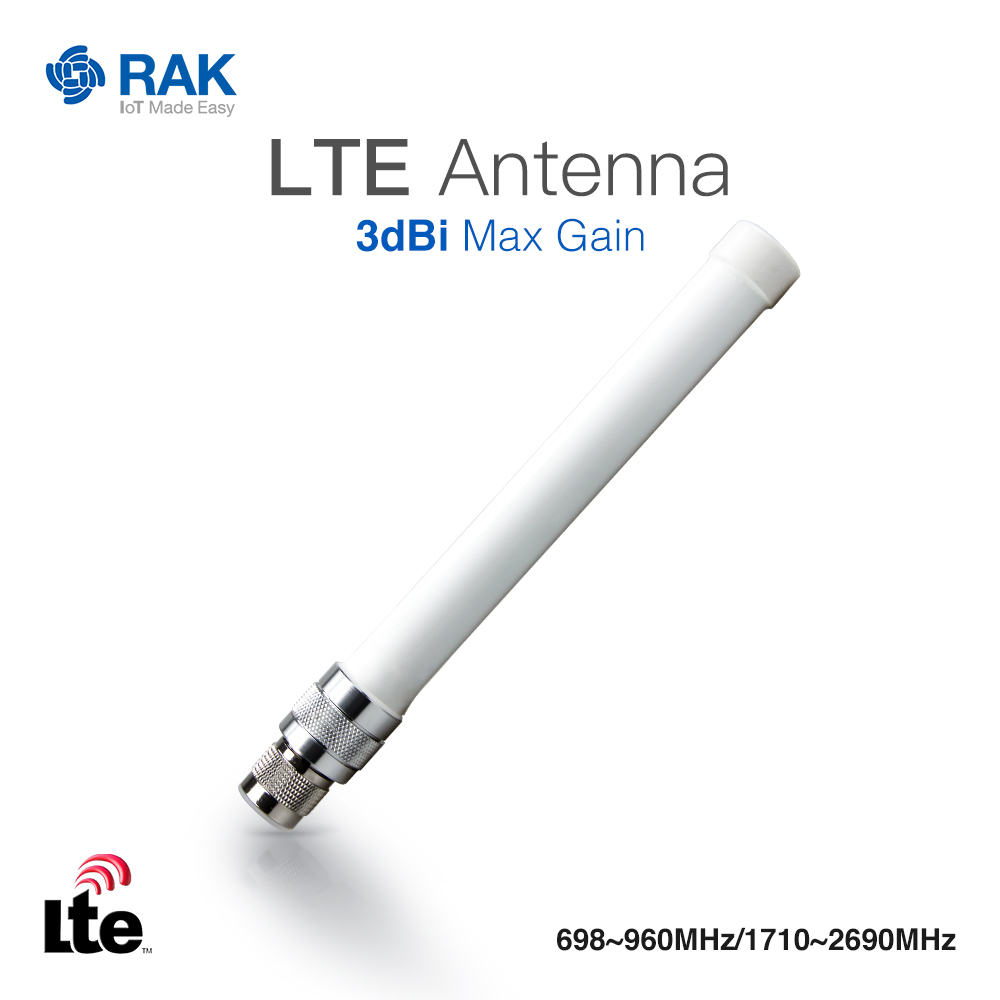 LTE Antenna 3dBi Max Gain,N-Type Male Connector,Frequency:698-960MHz/1710-2690MHz
