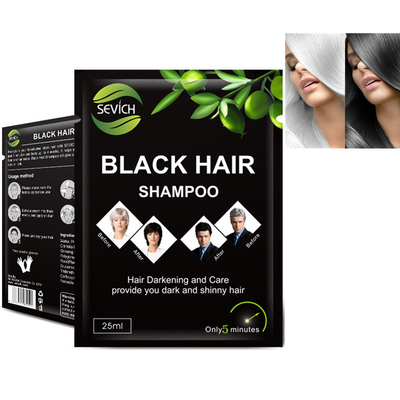 10pcs /Lot Black Hair Shampoo Fast Dyeing Gray White Become Black Hair Color 5 Minutes Natural Vegetable Lasting Month Hair Care