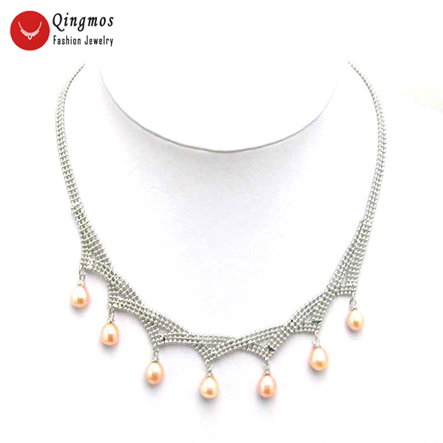 Qingmos Natural Pink Pearl Pendant Necklace for Women with 6-7mm Drop Freshwater Pearl Necklace Chokers 17″ Chain n5072