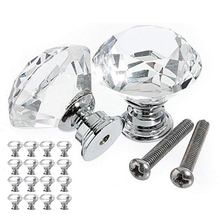 16pcs Glass Knob Drawer Door Crystal Diamond Handle Pull Dia 30mm for Wardrobes Cabinets Cupboards Furniture