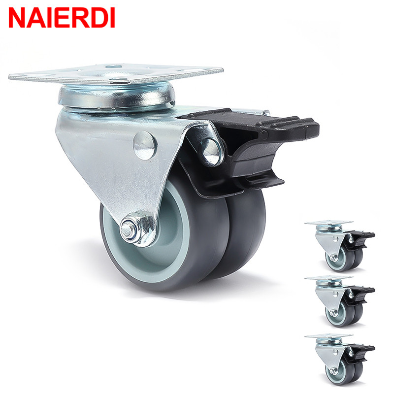 NAIERDI 4PCS 2 inch Trolley Casters Heavy Duty Swivel Soft Rubber Roller Wheels with Brake for Platform Furniture Wheels