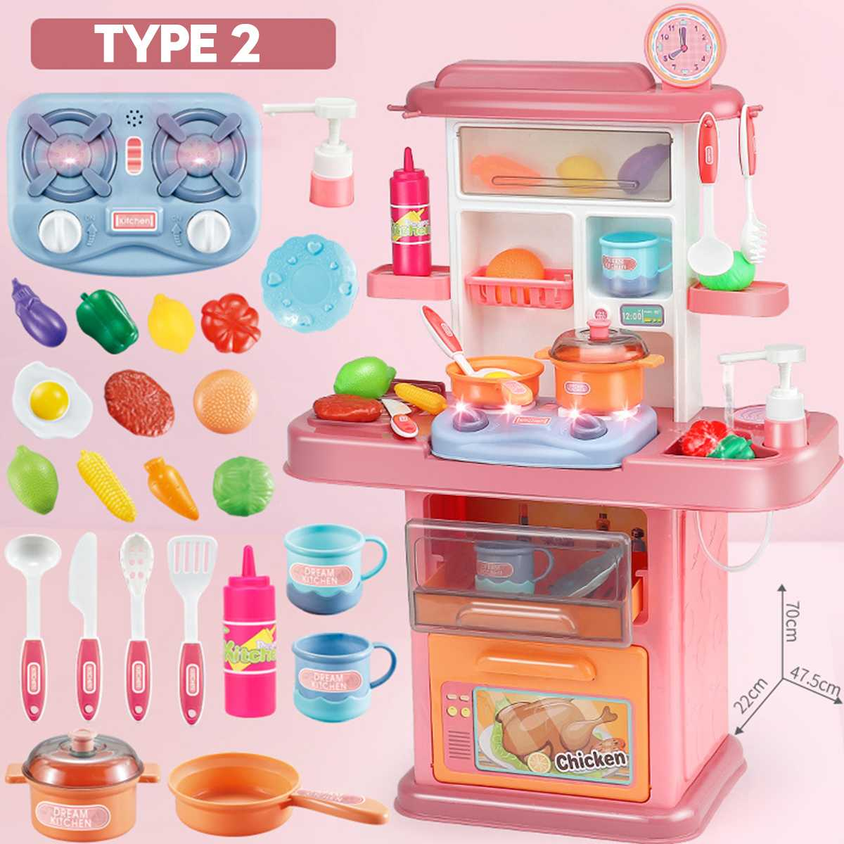 Safe Food Grade Plastic Kid Kitchen Toys Set Imitated Chef Pretend Cooking Food Dinnerware Set Cooking Table Children Girl Gift