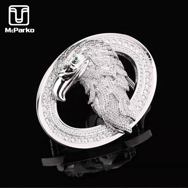 McParko Stainless Steel Belt Buckles For Men Luxury Eagle Belt Buckle With Rhinestone Fashion 3.8cm Buckles Without Belt Silver