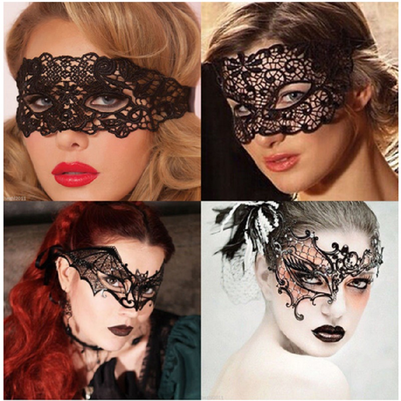 Sexy Mysterious Women Lace Eye Mask Gothic Black Nightclub Dance Party Mask Multi-use Masquerade Party Formal Mask Costume
