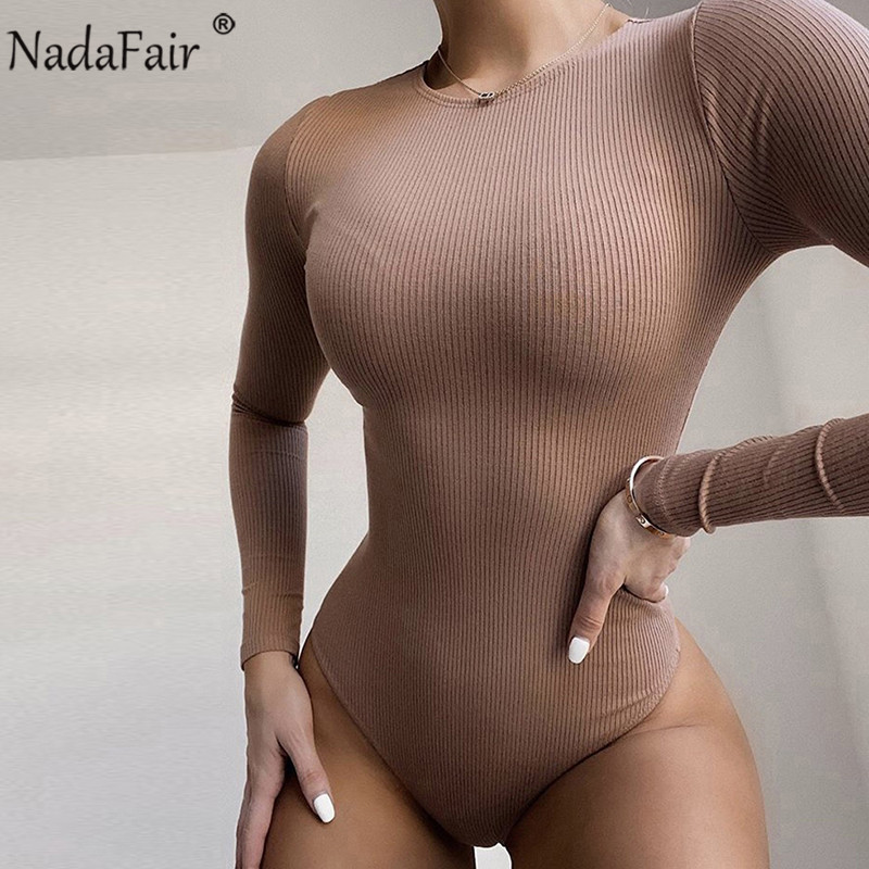 Nadafair Rib Sexy Bodysuit Women O Neck Autumn Winter Casual Basic Body Tops Skinny Bodycon Knitted Long Sleeve Women Bodysuits