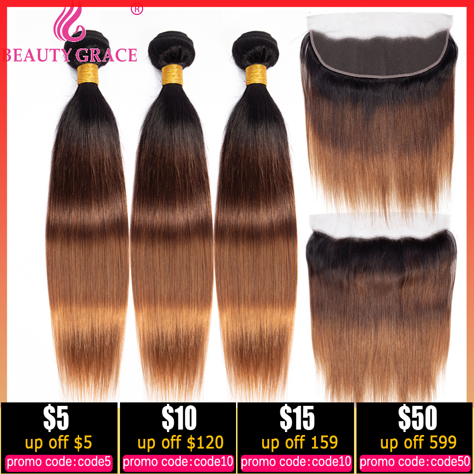 T1B/4/30 Honey Blonde Ombre Bundles With Lace Frontal Closure Brazilian Straight Human Hair Weave Bundles With Frontal Non-Remy