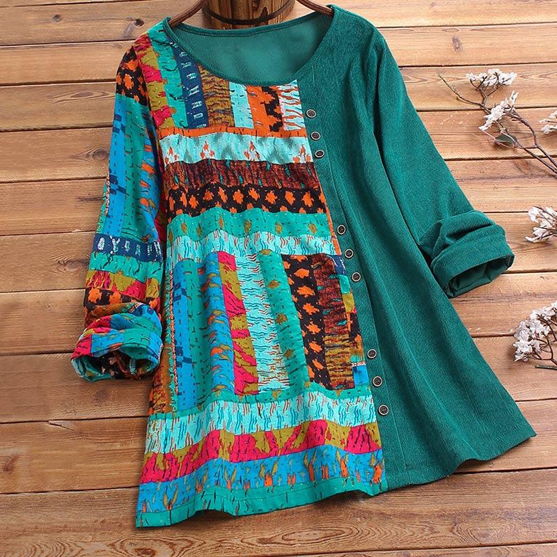 Women Cotton Corduroy Shirt 4XL 5XL Plus Size Tops Vintage Ethnic Print Patchwork Tunic Women Casual O Neck Long Sleeve Blouse(China)