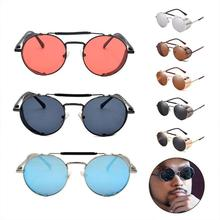 Retro Round Polarized Sunglasses Vintage Metal Side Shield D