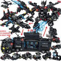 820 Uds niños regalos de navidad ladrillos policía Robot SWAT camión Juguetes educativos Legoed bloques de construcción Juguetes para niños 8 en 3